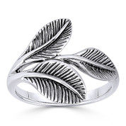 Triple-Laurel Leaf Victory Charm Ring in Oxidized .925 Sterling Silver - ST-FR011-SLO