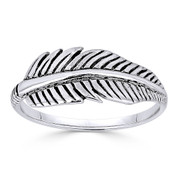 Antique-Finish Eagle's Wing Feather Charm Fashion Ring in Oxidized .925 Sterling Silver - ST-FR012-SLO