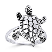 Tortoise / Turtle Animal Charm Right-Hand Ring in Oxidized .925 Sterling Silver - ST-FR014-SLO