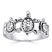 Triple Tortoise / Turtle Animal Charm Right-Hand Ring in Oxidized .925 Sterling Silver - ST-FR015-SLO