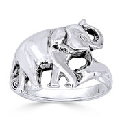 Elephant Animal Totem Charm Right-Hand Ring in Oxidized .925 Sterling Silver - ST-FR016-SLO
