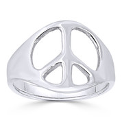 Peace Sign 13mm Charm Hippie Symbol Right-Hand Ring in 925 Sterling Silver - ST-FR018-SLP
