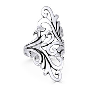 Plant Vine Charm Long Statement Ring in Oxidized .925 Sterling Silver - ST-FR019-SLO
