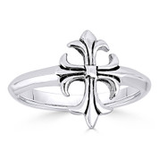 Medieval / Coptic Cross Charm Right-Hand Ring in Oxidized .925 Sterling Silver - ST-FR020-SLO