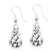 Irish / Celtic Claddagh Heart Charm Dangling Hook Earrings in Oxidized .925 Sterling Silver - ST-DE001-SL