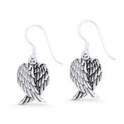 Angel's Wings Religious Charm Dangling Hook Earrings in Oxidized .925 Sterling Silver - ST-DE002-SL