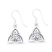 Irish / Celtic Trinity-Knot Triquetra Charm Dangling Hook Earrings in Oxidized .925 Sterling Silver - ST-DE003-SL