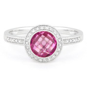 2.04ct Checkerboard Lab-Created Pink Sapphire & Round Cut Diamond Pave Halo-Design Ring in 14k White Gold