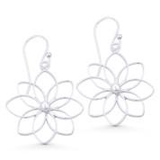 8-Petal Flower Charm Open Multi-Loop Dangling Hook Earrings in .925 Sterling Silver - ST-DE009-SL