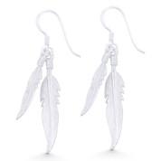Textured Double-Feather Charm Dangling Hook Earrings in .925 Sterling Silver - ST-DE010-SL