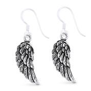 Angel's Wings Religious Charm Dangling Hook Earrings in Oxidized .925 Sterling Silver - ST-DE022-SL