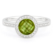 1.49ct Checkerboard Peridot & Round Cut Diamond Pave Halo-Design Ring in 14k White Gold