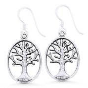 Tree-of-Life Religious Charm Dangling Hook Earrings in Oxidized .925 Sterling Silver - ST-DE035-SL