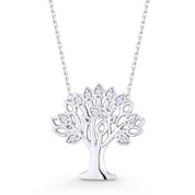 Tree-of-Life / Knowledge Etz Chaim Charm Pendant & Chain Necklace in .925 Sterling Silver -  ST-FN001-SL
