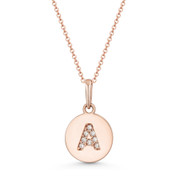 "Initial Letter ""A"" Cubic Zirconia Crystal Round Disc Pendant in Solid 14k Rose Gold -  BD-IP1-A-DiaCZ-14R"