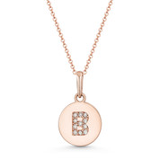 "Initial Letter ""B"" CZ Crystal 14k Rose Gold 15mmx9mm Round Disc Necklace Pendant -  BD-IP1-B-DiaCZ-14R"