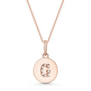 "Initial Letter ""G"" Cubic Zirconia Crystal Round Disc Pendant in Solid 14k Rose Gold - BD-IP1-G-DiaCZ-14R"