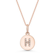 "Initial Letter ""H"" Cubic Zirconia Crystal Round Disc Pendant in Solid 14k Rose Gold - BD-IP1-H-DiaCZ-14R"