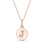 "Initial Letter ""J"" Cubic Zirconia Crystal Round Disc Pendant in Solid 14k Rose Gold - BD-IP1-J-DiaCZ-14R"