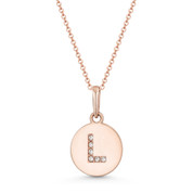 "Initial Letter ""L"" Cubic Zirconia Crystal Round Disc Pendant in Solid 14k Rose Gold - BD-IP1-L-DiaCZ-14R"