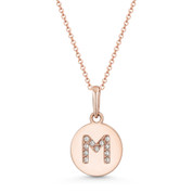 "Initial Letter ""M"" Cubic Zirconia Crystal Round Disc Pendant in Solid 14k Rose Gold - BD-IP1-M-DiaCZ-14R"