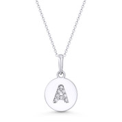 "Initial Letter ""A"" Cubic Zirconia Crystal Round Disc Pendant in Solid 14k White Gold - BD-IP1-A-DiaCZ-14W"
