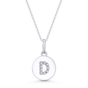 "Initial Letter ""D"" Cubic Zirconia Crystal Round Disc Pendant in Solid 14k White Gold - BD-IP1-D-DiaCZ-14W"