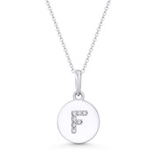 "Initial Letter ""F"" Cubic Zirconia Crystal Round Disc Pendant in Solid 14k White Gold - BD-IP1-F-DiaCZ-14W"