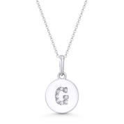 "Initial Letter ""G"" Cubic Zirconia Crystal Round Disc Pendant in Solid 14k White Gold - BD-IP1-G-DiaCZ-14W"