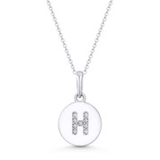 "Initial Letter ""H"" Cubic Zirconia Crystal Round Disc Pendant in Solid 14k White Gold - BD-IP1-H-DiaCZ-14W"