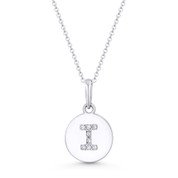 "Initial Letter ""I"" Cubic Zirconia Crystal Round Disc Pendant in Solid 14k White Gold - BD-IP1-I-DiaCZ-14W"