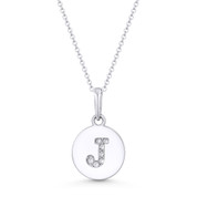 "Initial Letter ""J"" Cubic Zirconia Crystal Round Disc Pendant in Solid 14k White Gold - BD-IP1-J-DiaCZ-14W"