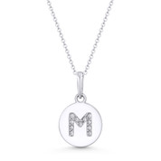 "Initial Letter ""M"" Cubic Zirconia Crystal Round Disc Pendant in Solid 14k White Gold - BD-IP1-M-DiaCZ-14W"