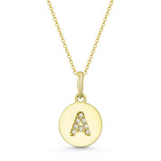 "Initial Letter ""A"" Cubic Zirconia Crystal Round Disc Pendant in Solid 14k Yellow Gold - BD-IP1-A-DiaCZ-14Y"