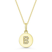 "Initial Letter ""B"" Cubic Zirconia Crystal Round Disc Pendant in Solid 14k Yellow Gold -  BD-IP1-B-DiaCZ-14Y"