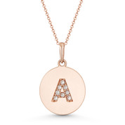 "Initial Letter ""A"" Cubic Zirconia Crystal Round Disc Pendant in Solid 14k Rose Gold - BD-IP2-A-DiaCZ-14R"