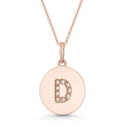 "Initial Letter ""D"" Cubic Zirconia Crystal Round Disc Pendant in Solid 14k Rose Gold - BD-IP2-D-DiaCZ-14R"