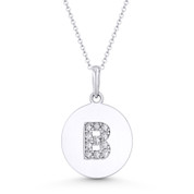 "Initial Letter ""B"" Cubic Zirconia Crystal Round Disc Pendant in Solid 14k White Gold - BD-IP2-B-DiaCZ-14W"