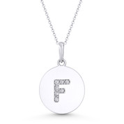 """Initial Letter """"F"""" Cubic Zirconia Crystal Round Disc Pendant in Solid 14k White Gold - BD-IP2-F-DiaCZ-14W"""