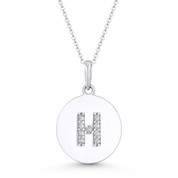 """Initial Letter """"H"""" Cubic Zirconia Crystal Round Disc Pendant in Solid 14k White Gold - BD-IP2-H-DiaCZ-14W"""