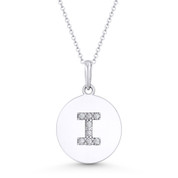 """Initial Letter """"I"""" Cubic Zirconia Crystal Round Disc Pendant in Solid 14k White Gold - BD-IP2-I-DiaCZ-14W"""