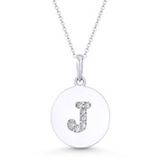 """Initial Letter """"J"""" Cubic Zirconia Crystal Round Disc Pendant in Solid 14k White Gold - BD-IP2-J-DiaCZ-14W"""