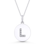 """Initial Letter """"L"""" Cubic Zirconia Crystal Round Disc Pendant in Solid 14k White Gold - BD-IP2-L-DiaCZ-14W"""