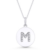 """Initial Letter """"M"""" Cubic Zirconia Crystal Round Disc Pendant in Solid 14k White Gold - BD-IP2-M-DiaCZ-14W"""