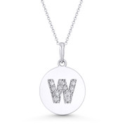 """Initial Letter """"W"""" Cubic Zirconia Crystal Round Disc Pendant in Solid 14k White Gold - BD-IP2-W-DiaCZ-14W"""