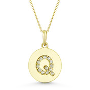 """Initial Letter """"Q"""" Cubic Zirconia Crystal Round Disc Pendant in Solid 14k Yellow Gold - BD-IP2-Q-DiaCZ-14Y"""