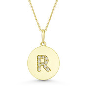 """Initial Letter """"R"""" Cubic Zirconia Crystal Round Disc Pendant in Solid 14k Yellow Gold - BD-IP2-R-DiaCZ-14Y"""