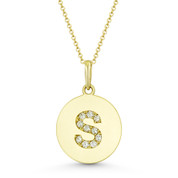 """Initial Letter """"S"""" Cubic Zirconia Crystal Round Disc Pendant in Solid 14k Yellow Gold - BD-IP2-S-DiaCZ-14Y"""