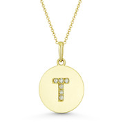 """Initial Letter """"T"""" Cubic Zirconia Crystal Round Disc Pendant in Solid 14k Yellow Gold - BD-IP2-T-DiaCZ-14Y"""