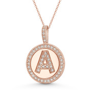 "Cubic Zirconia Crystal Pave Initial Letter ""A"" & Halo Round Disc Pendant in Solid 14k Rose Gold - BD-IP3-A-DiaCZ-14R"